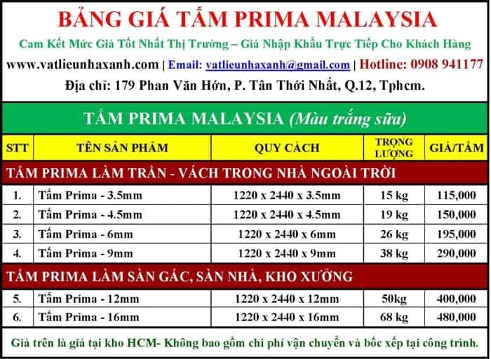 báo giá tấm prima malaysia