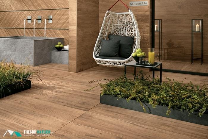 gạch lát sân vườn giả gỗ