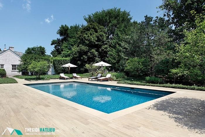 gạch vân gỗ lát hồ bơi
