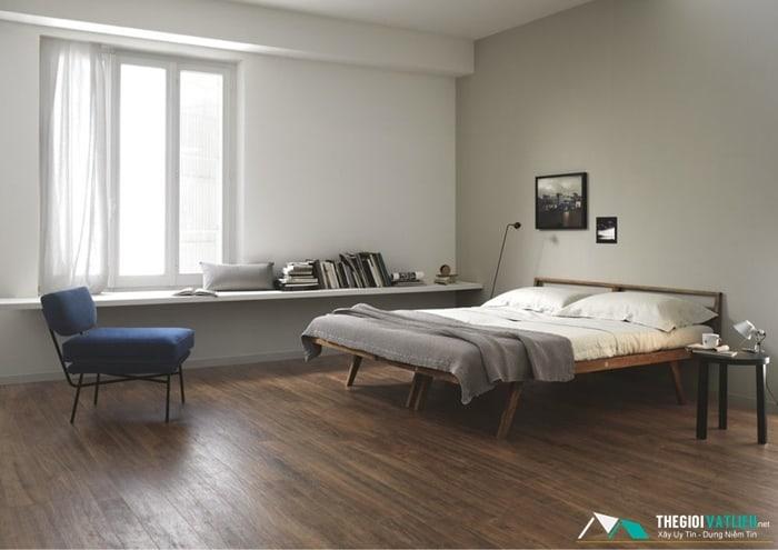 gạch lát phòng ngủ giả gỗ