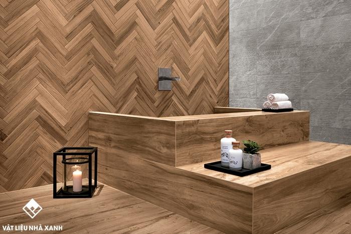gạch ốp phòng tắm giả gỗ