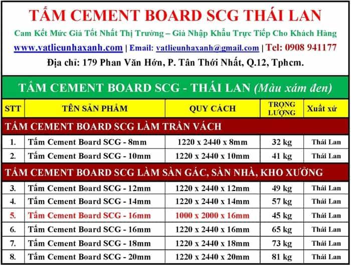kích thước tấm cement board