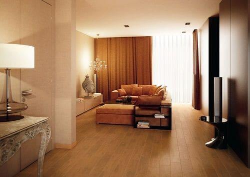 Sử dụng gạch giả gỗ Trung Quốc cho phòng khách
