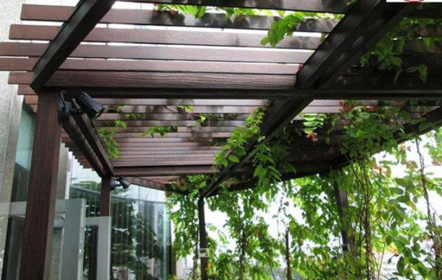 Giàn hoa bằng gỗ Smartwood cho ngôi nhà xanh màu hoa lá