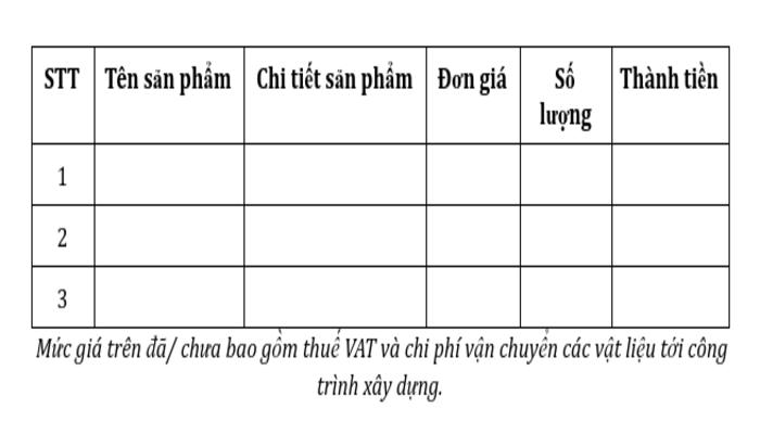 Mẫu bảng thống kê vật liệu